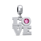 Love Birthstone Charm in Silver