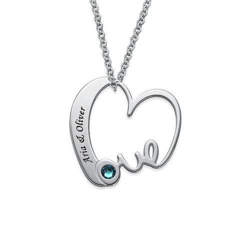 Love Heart Necklace with Birthstones