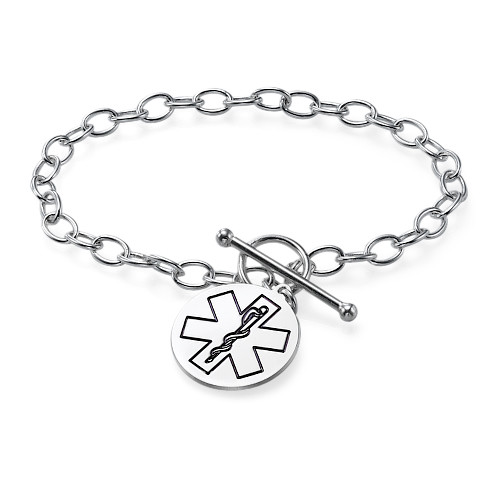 Medical ID Bracelet with Engraved Charm