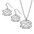 Mix and Match Small Monogram Necklace & Earrings Set