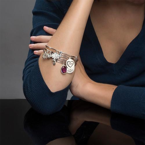 Mom Charm Bangle Bracelet - 3