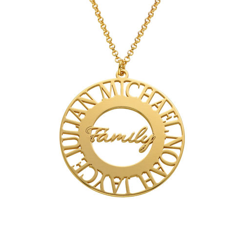 Mom Circle Necklace in Gold Plating