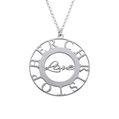 Mom Circle Necklace in Silver Sterling - 1