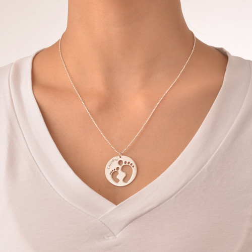 Mom Necklace with Cut Out Baby Feet - 1