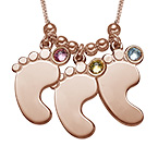Mom Jewelry - Baby Feet Necklace in Rose Gold Plating