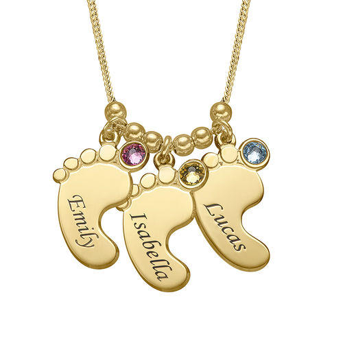 Mom Jewelry Baby Feet Necklace With Gold Plating