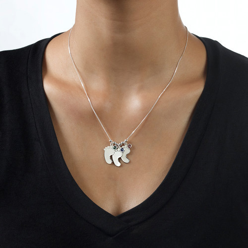 Mom Jewelry - Silver Baby Feet Necklace - 2