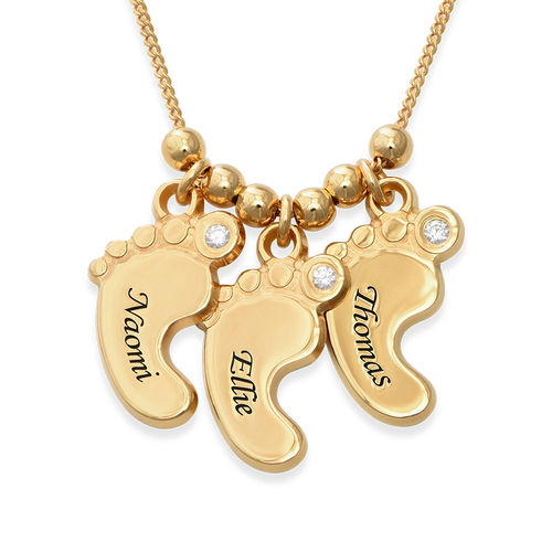Mom Jewelry - Baby Feet Necklace Gold Plated with Diamonds