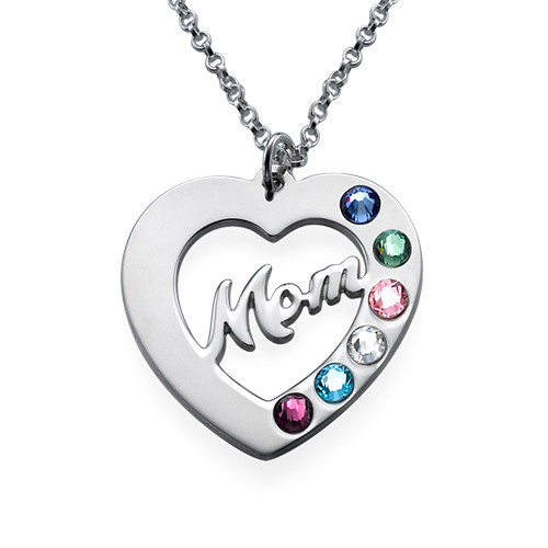 Mom Necklace with Birthstones - 1