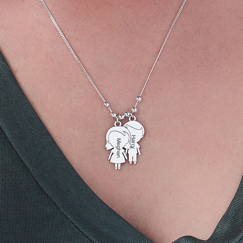 Mom Necklace with Children Charms in Sterling Silver Sterling - 3