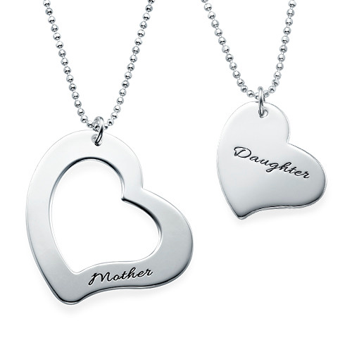 Mom is My Heart Mother Daughter Necklaces