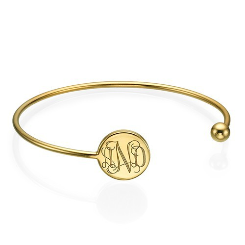 Monogram Bangle Bracelet in Gold Plating - Adjustable