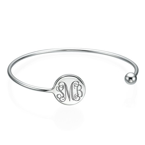 Monogram Bangle Bracelet in Silver - Adjustable