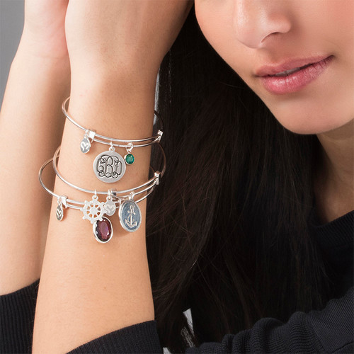 Monogram Bangle with Charms - 3
