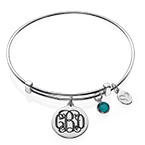 Monogram Bangle with Charms
