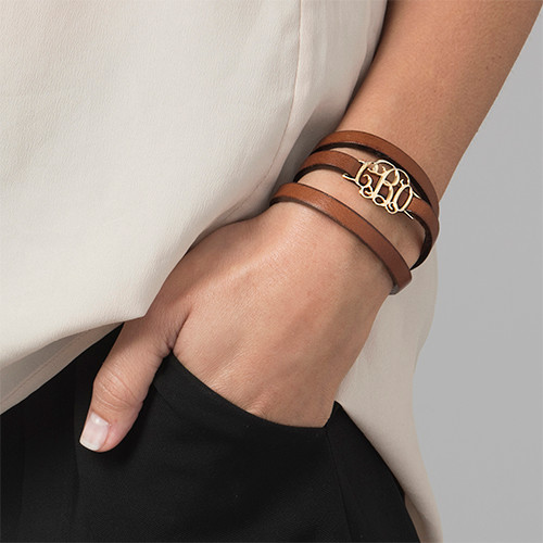 Monogram Leather Bracelet - 18k Gold Plated - 1