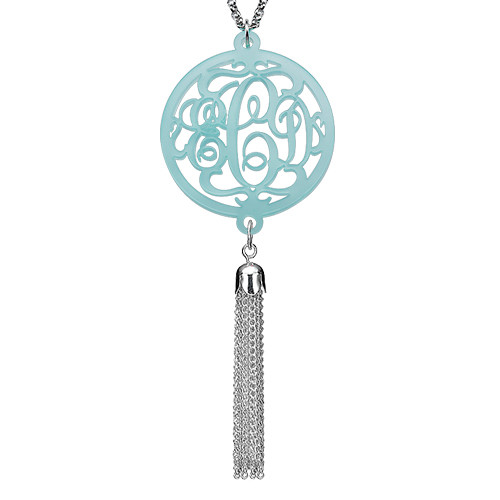 Monogram Necklace with Long Tassel