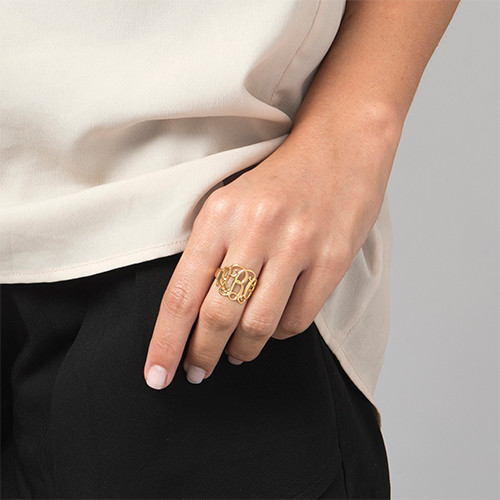 Monogram Ring - 18k Gold Plated - 1