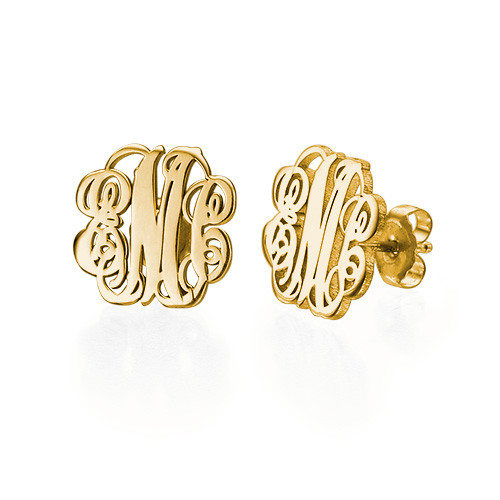 Monogram Stud Earrings - 18k Gold Plated
