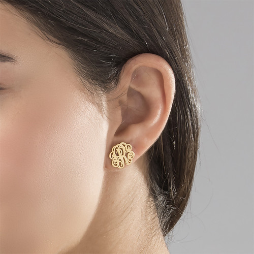 Monogram Stud Earrings 18k Gold Plated 1