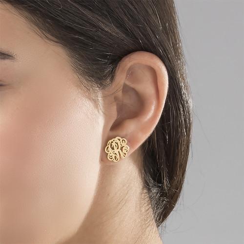 Monogram Stud Earrings - 18k Gold Plated - 1