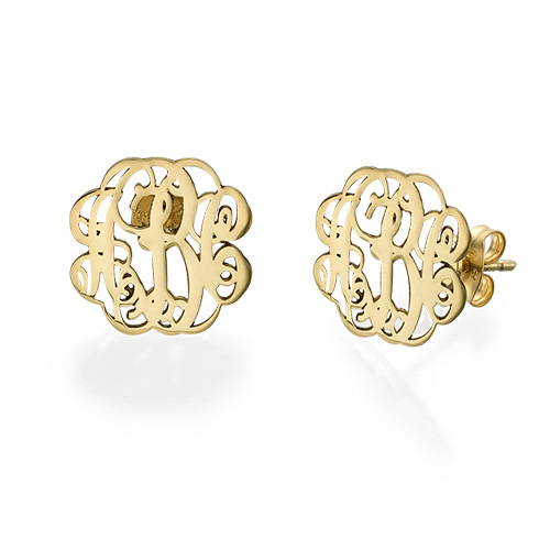 Monogram Stud Earrings In 14k Gold
