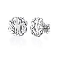 Monogram Stud Earrings in Silver