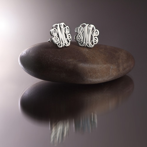 Monogram Stud Earrings in Silver - 2