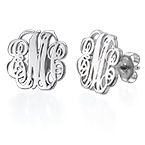 Monogram Stud Earrings in Silver