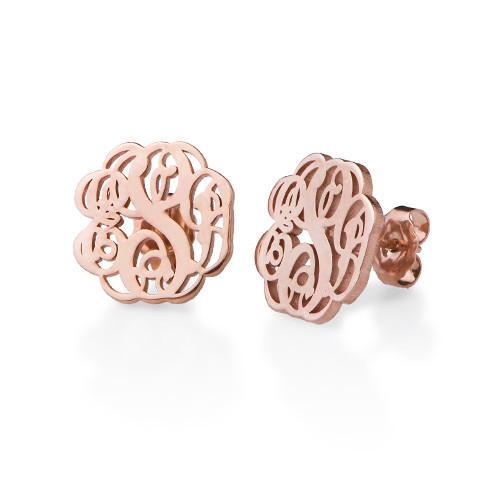 Monogram Stud Earrings with Rose Gold Plating