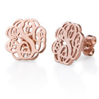 Monogram Stud Earrings with Rose Gold Plating
