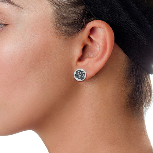 Monogram Stud Earrings - 1