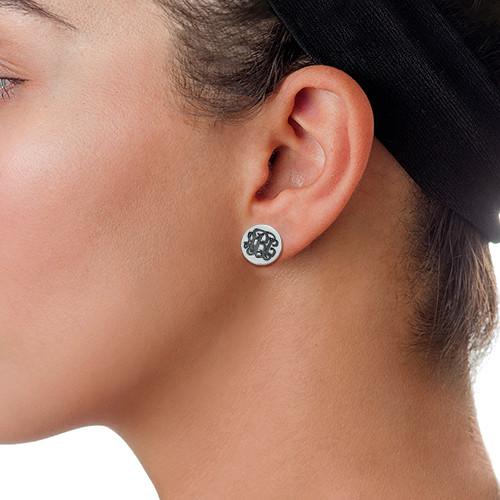 Monogram Stud Earrings - 1