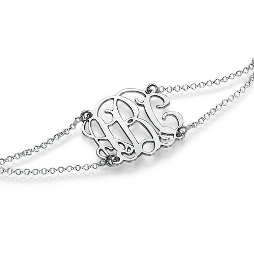 Monogrammed Bracelet with Double Chain - 1