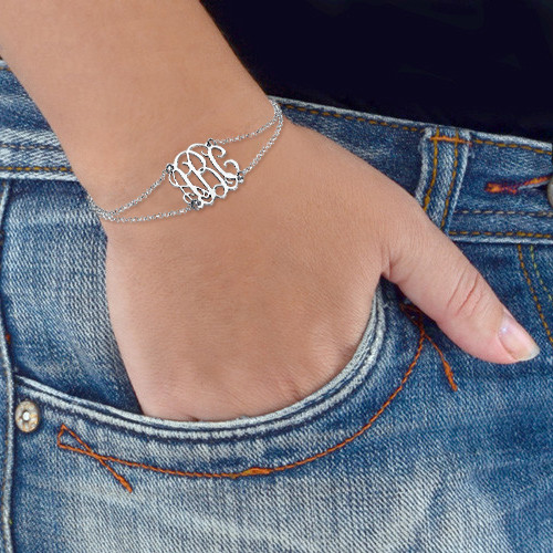 Monogrammed Bracelet with Double Chain - 2