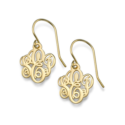 Monogrammed Earrings in 18k Gold Plating
