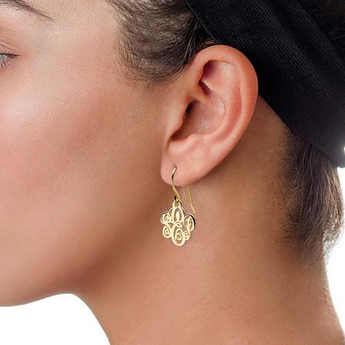 Monogrammed Earrings in 18k Gold Plating - 1