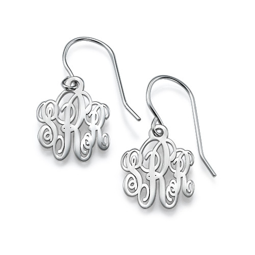 Monogrammed Earrings in Silver