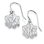 Monogrammed Earrings in Silver