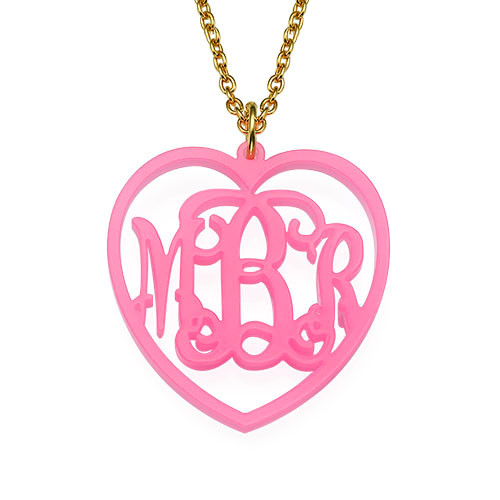 Monogrammed Heart - Acrylic Pendant Necklace