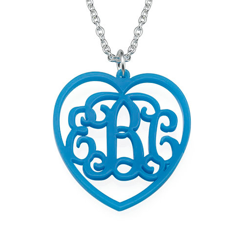 Monogrammed Heart - Acrylic Pendant Necklace - 1