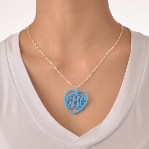 Monogrammed Heart - Acrylic Pendant Necklace - 2