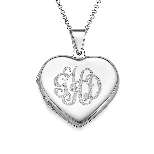 Monogrammed Heart Locket Necklace
