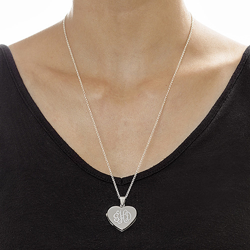 Monogrammed Heart Locket Necklace - 1