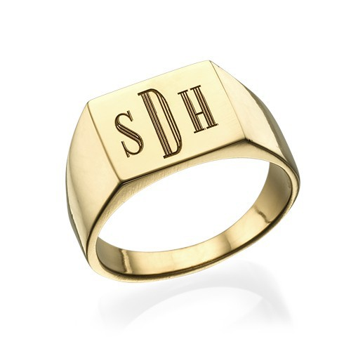 Monogrammed Signet Ring - 18k Gold Plated
