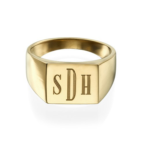 Monogrammed Signet Ring - 18k Gold Plated - 1
