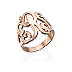 Monogrammed Ring in Rose Gold Plating