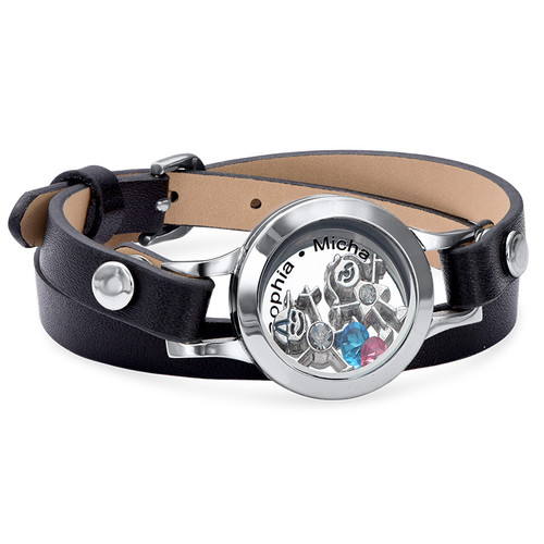 Mother Floating Locket Leather Bracelet with Children Charms