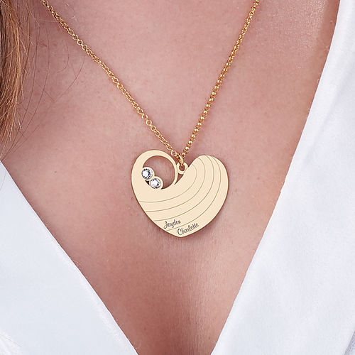 Mother Heart Necklace with Birthstones in Gold Plating - 3