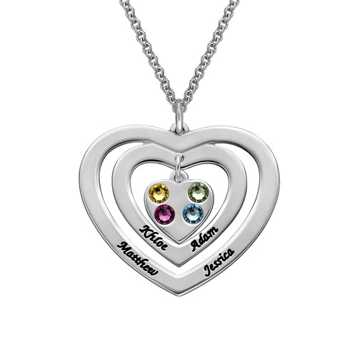 Mother Heart Necklace with Birthstones
